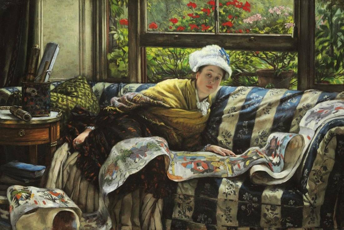 James Tissot [French Painter, 1836-1902] - The Japanese Scroll